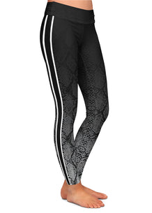 Gray Ombre Snakeskin Stripe Leggings