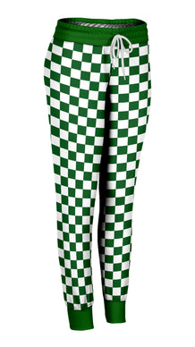Green & White Checkered Joggers