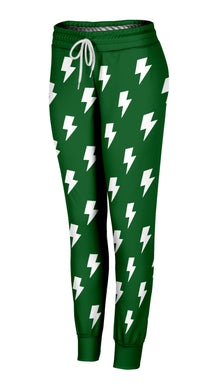 Green & White Lightning Bolts Joggers