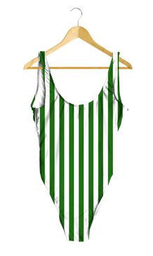 Green & White Striped One-Piece