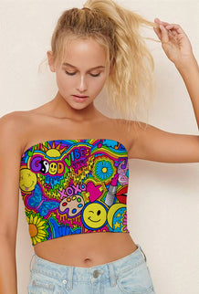 Hippie Collage Tube Top