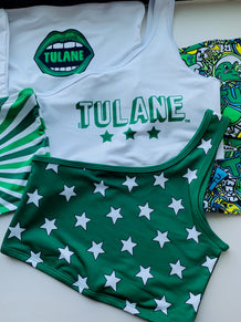 Tulane Bold Stars One Shoulder Top