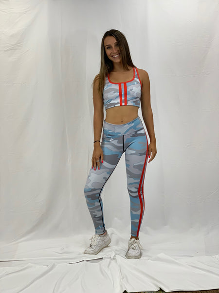 Beachy Camo Double Red Stripe Sports Bra