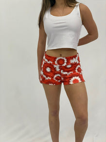 Red & White Tie Dye Shorts