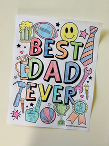 Best Dad Ever Coloring Sheet