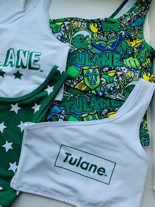 Tulane Block Outline One Shoulder Top