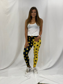 Black & Yellow Split Stars Leggings