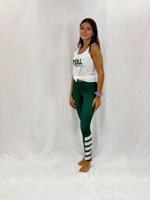 Green Diagonal Ankle Stripe Leggings