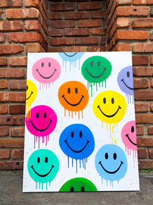 Drippy Happy Faces Painting