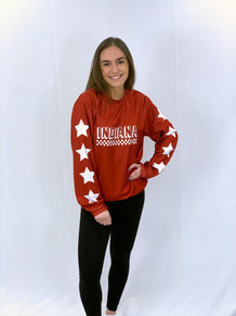 Indiana Checkered Star Sleeves Crew Neck