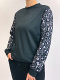 Gray Cheetah Sleeves Crew Neck Sweatshirt
