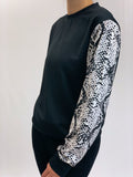 Snakeskin Sleeves Cropped Crew Neck Sweatshirt