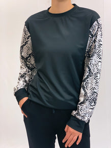 Snakeskin Sleeves Crew Neck Sweatshirt