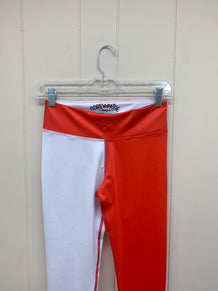 Red & White Half Color Leggings