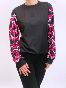 Pink Electric Love Black Crew Neck Sweatshirt
