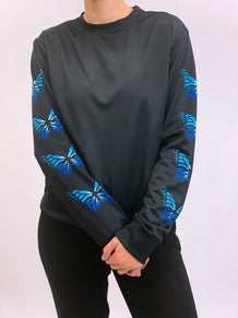 Blue Butterflies Black Crew Neck Sweatshirt