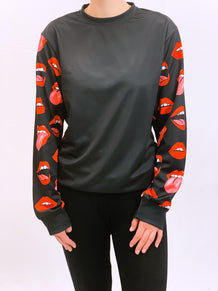 Tongues Out Sleeves Crew Neck Sweatshirt