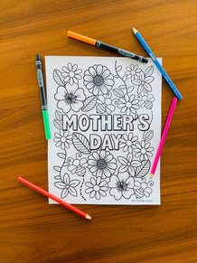 Mother's Day Flowers Coloring Sheet