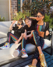 Rainbow Side Striped Mini Stars Joggers