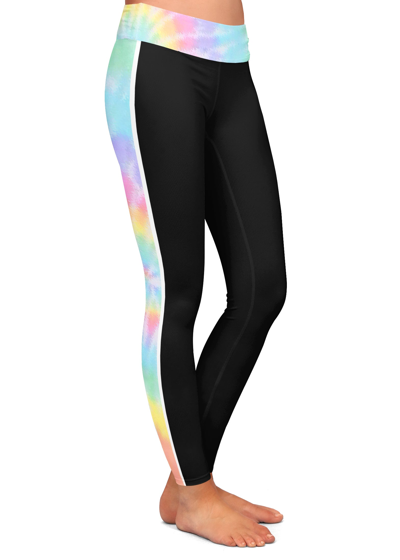 Tie Dye Side Stripe Leggings