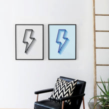 Shadowed Lightning Bolt Framed Print