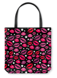 Lips & Stars Black Tote Bag