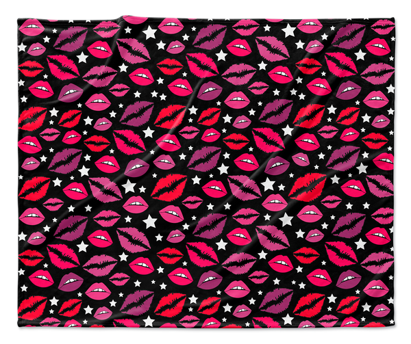 Lips and Stars Black Blanket