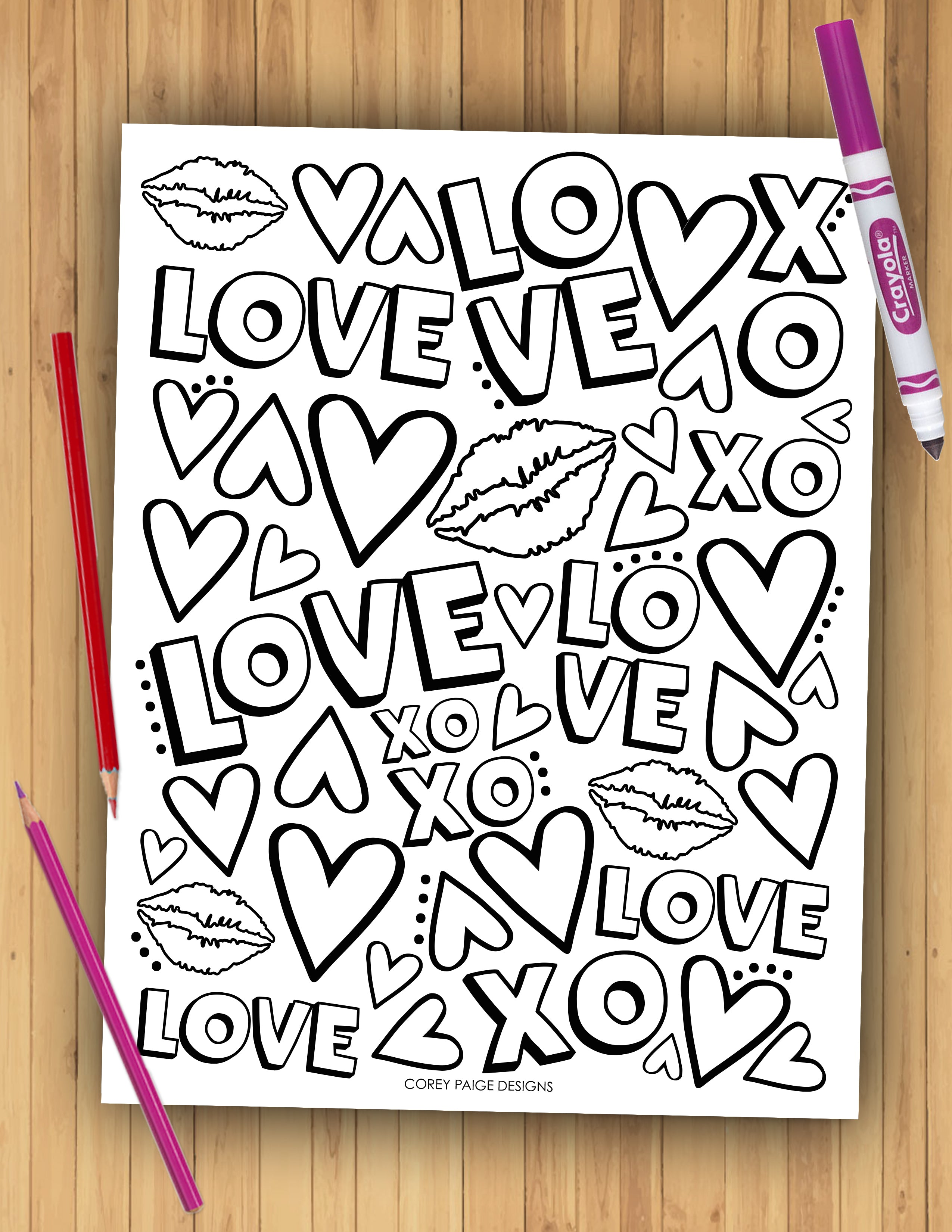Valentine's Day Coloring Sheet Pack