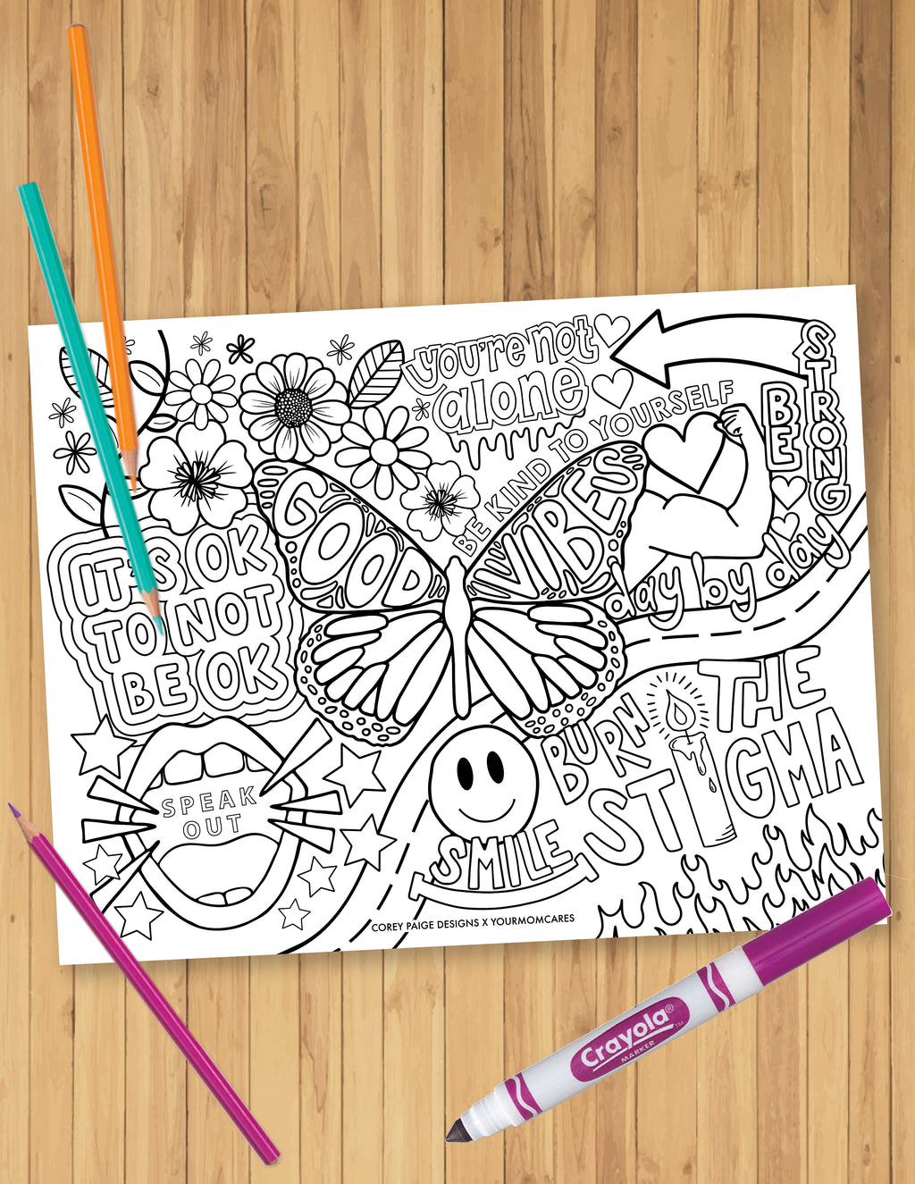 Mental Wellness Collage Coloring Sheet