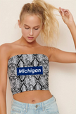 Block Snakeskin Tube Top