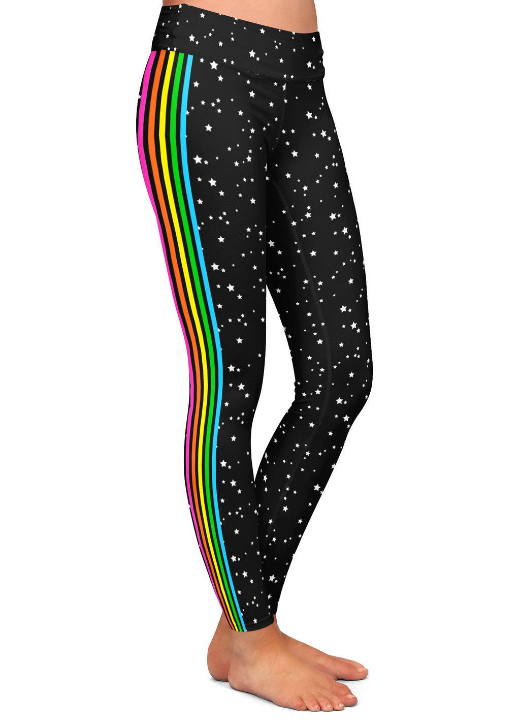 Rainbow Side Striped Stars Leggings