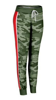 Olive Camo Red Stripe Joggers