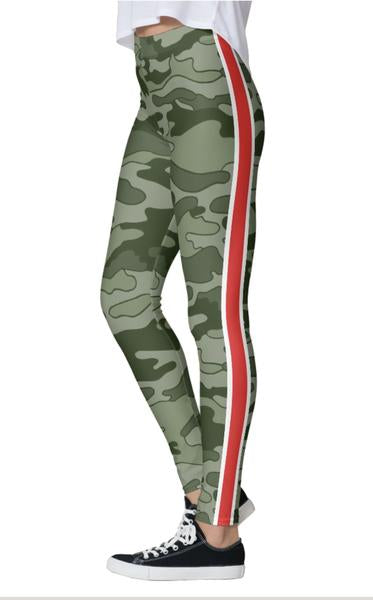Olive Camo Red Stripe Leggings
