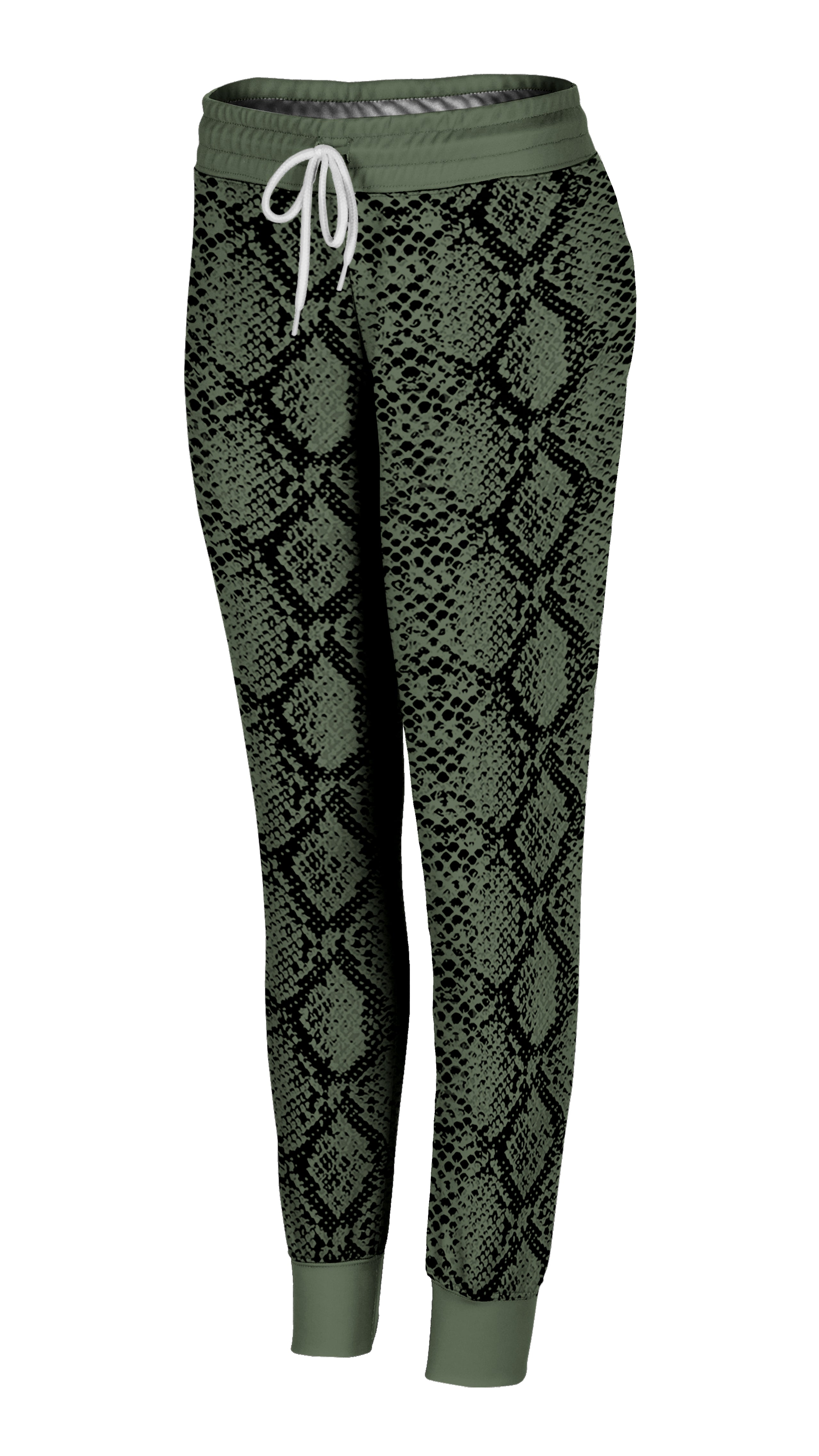 Olive Green Snakeskin Joggers