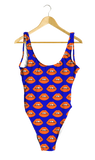 Orange Lips on Blue One-Piece