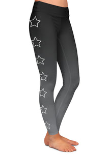 Gray Ombre Outlined Stars Leggings