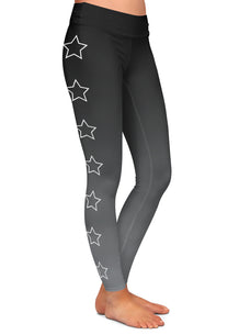 Outlined Star Gray Ombre Leggings