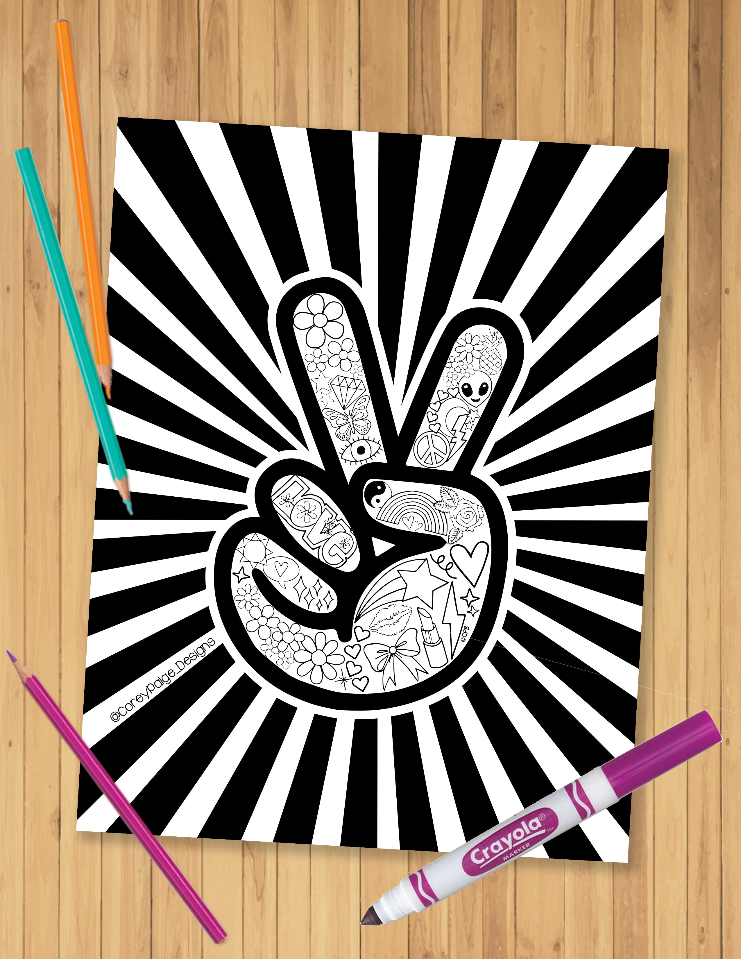 Peace Sign Coloring Sheet
