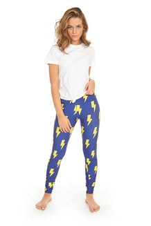 Yellow & Blue Lightning Bolts Leggings