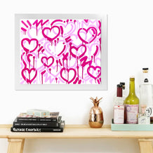 Pink & White Electric Love Framed Print