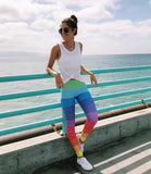 Striped Rainbow Ombre Thick Band Leggings