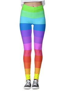 Rainbow Ombre Striped Leggings