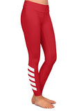 Red Diagonal Ankle Stripe Leggings