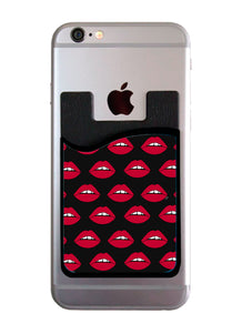 Red Lips On Black Card Caddy