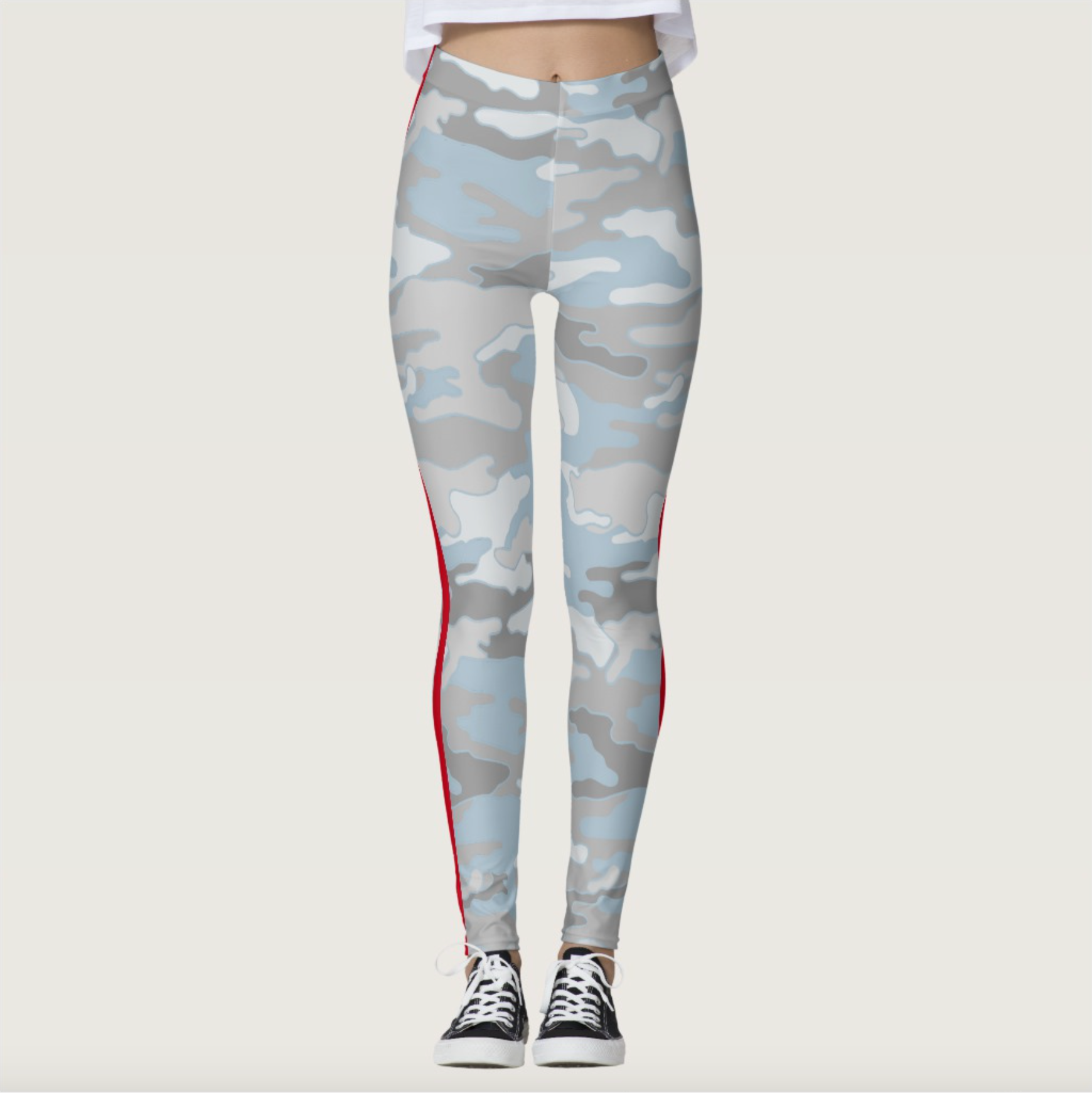 Beachy Camo Double Red Stripe Leggings