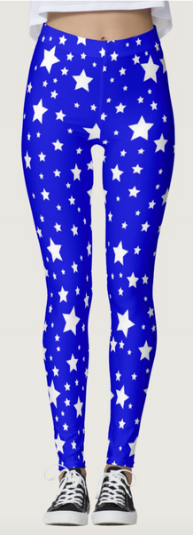 White Starry Blue Leggings