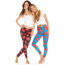 Lips On Blue Thick Band Leggings