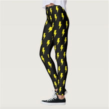 Yellow & Black Lightning Bolts Leggings