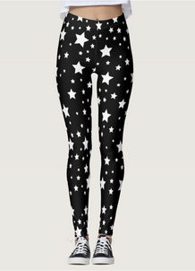 White Stars Black Leggings