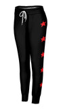 Side Red Stars Black Joggers